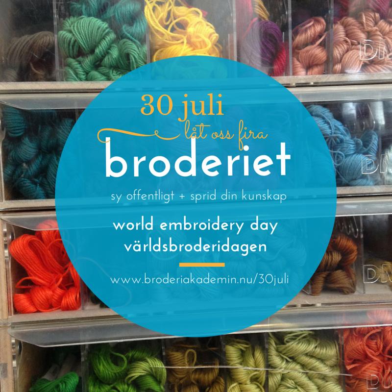 Fira Världsbroderidagen den 30 juli varje år - läs mer på www.broderiakademin.nu Täcklebo Broderiakademi - en förening öppen för alla som tycker om att brodera