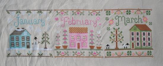 Cottage Stitch-along Progress - Foto och broderi: Jennifer Worthen